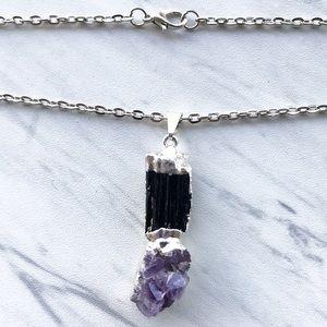 Silverskylight Jewelry - Genuine amethyst cluster black tourmaline necklace